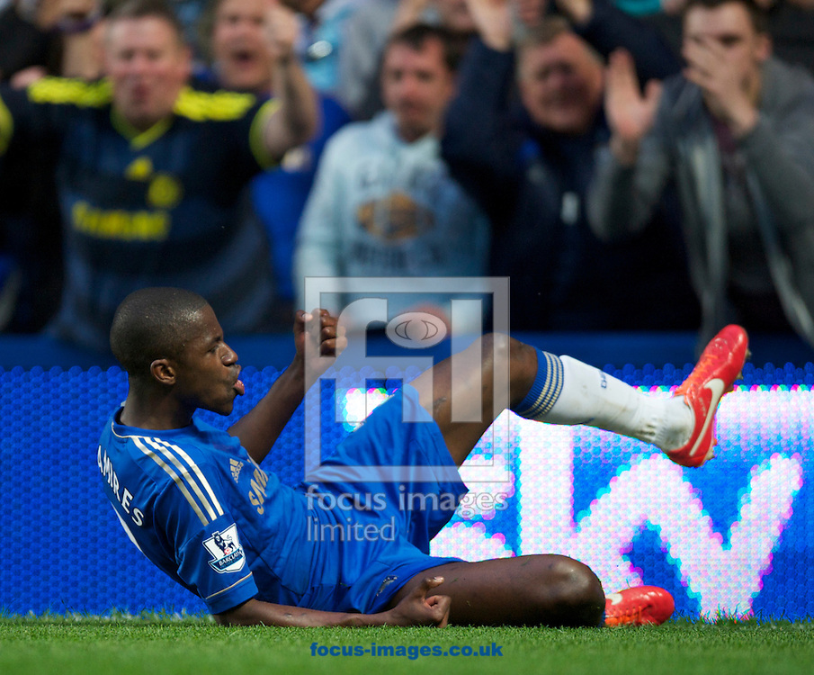 Picture by Alan Stanford/Focus Images Ltd +44 7915 056117.08/05/2013.Ramires of Chelsea a celebrates his goal during the Barclays Premier League match at Stamford Bridge, London..