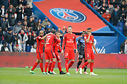 Marco Verratti (psg) scored the second goal and celebrated it with Maxwell Scherrer Cabelino Andrade (psg), Lucas Rodrigues Moura da Silva (psg), Julian Draxler (PSG), Marcos Aoas Correa dit Marquinhos (PSG), Lyes HOURI (SC Bastia)during the French championship Ligue 1 football match between Paris Saint-Germain (PSG) and Bastia on May 6, 2017 at Parc des Princes Stadium in Paris, France - Photo Stephane Allaman / ProSportsImages / DPPI
