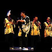 Ladysmith Black Mambazo member Thamsanqa Shabalala high kicking at The Music Hall, Portsmouth, NH
