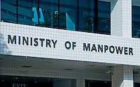 Photograph of the front of the Ministry of Manpower building in Singapore, Asia.