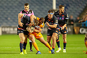 Hamish Watson (#7) of Edinburgh Rugby is caught round the neck by Aranos Coetzee (#3) of Toyota Cheetas during the Guinness Pro 14 2018_19 match between Edinburgh Rugby and Toyota Cheetahs at BT Murrayfield Stadium, Edinburgh, Scotland on 5 October 2018.