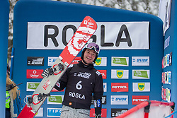 Marguc Rok (SLO), celebrating during Final Run at Parallel Giant Slalom at FIS Snowboard World Cup Rogla 2019, on January 19, 2019 at Course Jasa, Rogla, Slovenia. Photo byJurij Vodusek / Sportida