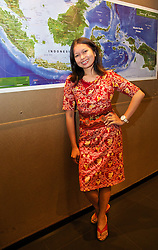 JAKARTA, INDONESIA - Tuesday, July 16, 2013: Liverpool supporter Adjeng Pradha from Jakarta, wearing a Liverpool FC insider dress designed by her friend, ahead of the Reds' visit to Indonesia as part of their Preseason Tour. (Pic by David Rawcliffe/Propaganda)