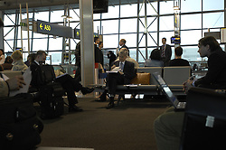 Jean-Claude Trichet , President of the European Central Bank, works at Brussels National Airport while waiting for his flight to Frankfurt after speaking at the European Parliament in Brussels, Belgium on Wednesday March 21, 2007.(Photo © Jock Fistick)