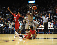 """Ole Miss' Terrance Henry (1) vs. Louisiana-Lafayette's Raymone Andrews (22) at C.M. """"Tad"""" Smith Coliseum in Oxford, Miss. on Wednesday, December 14, 2011. (AP Photo/Oxford Eagle, Bruce Newman)"""