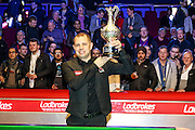 2017 Grand Prix Champion, Barry Hawkins lifts the trophy during the Ladbrokes World Grand Prix at Preston Guildhall, Preston, United Kingdom on 12 February 2017. Photo by Pete Burns.