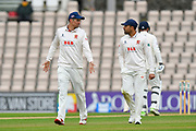 Alastair Cook of Essex talks to Ravi Bopara of Essex during the first day of the Specsavers County Champ Div 1 match between Hampshire County Cricket Club and Essex County Cricket Club at the Ageas Bowl, Southampton, United Kingdom on 5 April 2019.