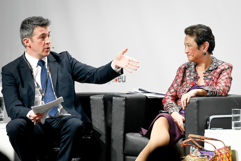 04 June 2015 - Belgium - Brussels - European Development Days - EDD - Migration - Migration is development - Making migration a driver for development - Paul Hackett<br /> Journalist, Euronews - Imelda Nicolas<br /> Chairperson, Commission on Filipinos Overseas (CFO) &copy; European Union