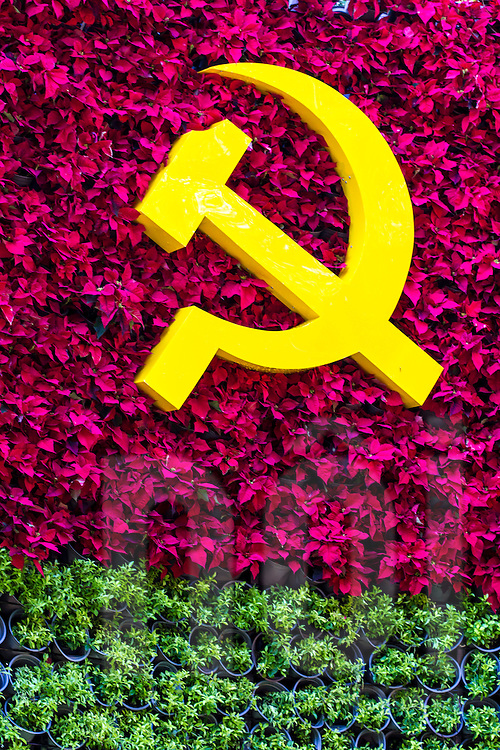 Yellow hammer and sickle symbol. Ho Chi Minh city, Vietnam, Asia