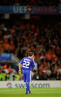 """FUSSBALL EUROPAMEISTERSCHAFT 2008  Niederlande - Frankreich    13.06.2008 Franck RIBERY (FRA) enttaeuscht. Im Hintergrund der Schriftzug """"UEFA EURO""""."""