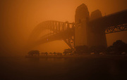 Sydney Harbour Bridge during dust storm, September 23, 2009. The Dust storm was caused by gale force winds blowing in from the drought stricken inland. The storm was dewscribed as being the worst in 70 years.