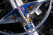 "02AUG09 The 60' Trimaran ""Banque Populaire"", skippered by Frenchman Pascal Bidegorry smashes the transatlantic multihull record from New York to Lizard Point off the Cornish coast, UK, crossing the line at 14:13:30 GMT (15:13:30 BST/local), setting a new world record of.3days, 15hours, 25mins and 48 seconds. They had previously set a new 24hour run of 907miles."