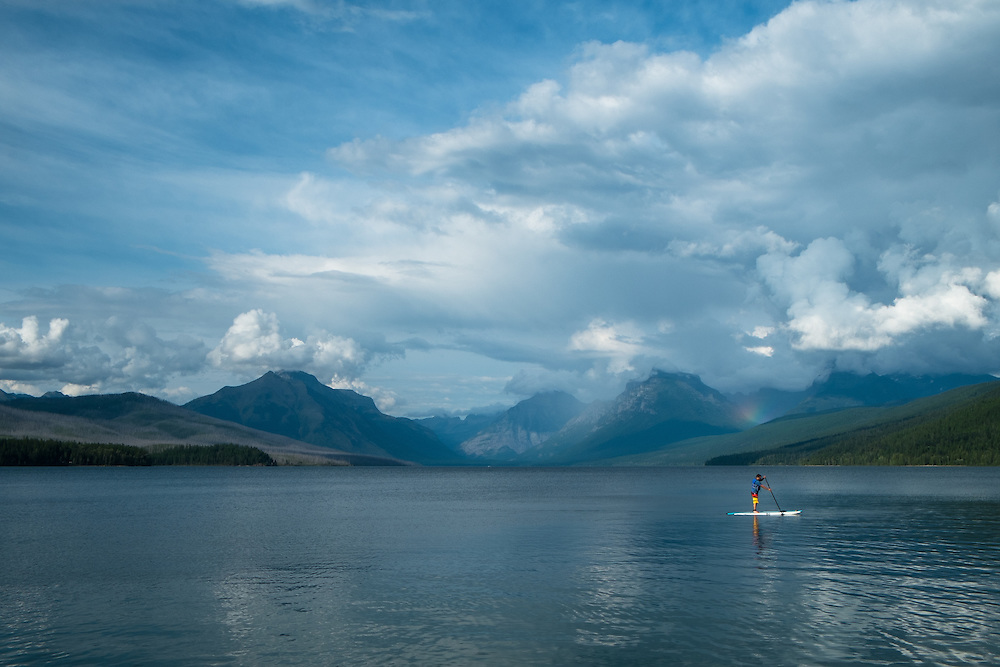 Paddle Boarder on Lake McDonald, Glacier National Park   August 2014