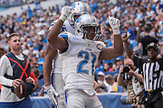 September 11, 2016: Detroit Lions running back Ameer Abdullah (21) celebrates a touchdown during the week 1 NFL game between the Detroit Lions and Indianapolis Colts at Lucas Oil Stadium in Indianapolis, IN.  (Photo by Zach Bolinger/Icon Sportswire)