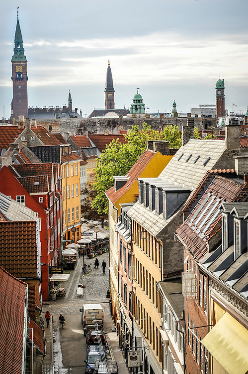 A clear view of Copenhagen's spires, towers, rooftops and buildings