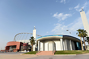 General overall view of Khalifa International Stadium and the Mosque at the Aspire Zone in Doha, Qatar, Friday, April 20, 2019. Doha will play host to the 2019 IAAF World Championships in Athletics  and the 2022 FIFA World Cup. (Jiro Mochizuki/Image of Sport via AP)
