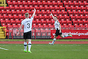 Gateshead's Danny Johnson(9) scores a goal 1-0 and celebrates during the Vanarama National League match between Gateshead and Forest Green Rovers at Gateshead International Stadium, Gateshead, United Kingdom on 18 February 2017. Photo by Shane Healey.