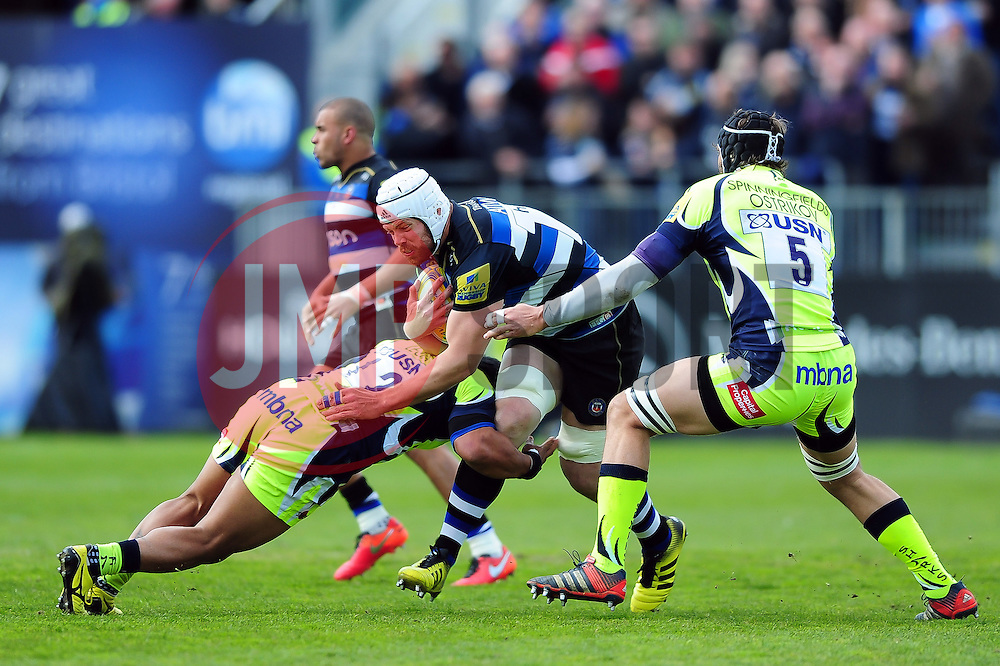Dave Attwood of Bath Rugby takes on the Sale Sharks defence - Mandatory byline: Patrick Khachfe/JMP - 07966 386802 - 23/04/2016 - RUGBY UNION - The Recreation Ground - Bath, England - Bath Rugby v Sale Sharks - Aviva Premiership.