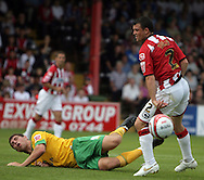London - Saturday August 15th, 2009: Grant Holt (L) of Norwich City in action against Steve Tully of Exeter City during the Coca Cola League One match at St James Park, Exeter. (Pic by Mark Chapman/Focus Images)