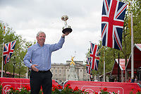 CBE Brendan Foster celebrates with the Lifetime Achievement Award. The Virgin Money London Marathon, 23rd April 2017.<br /> <br /> Photo: Jed Leicester for Virgin Money London Marathon<br /> <br /> For further information: media@londonmarathonevents.co.uk