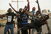 BANJUL, GAMBIA - JAN 19: People celebrate on the streets the inauguration of new Gambia's president Adama Barrow at pipeline neighbourhood on January 19, 2017 in Banjul, Gambia. AFP PHOTO / STRINGER