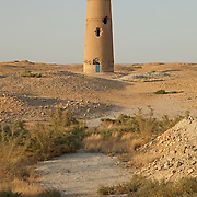 The partially restored Abu-Jafar Akhmed minaret in the ruins of Dekhistan, Turkmenistan