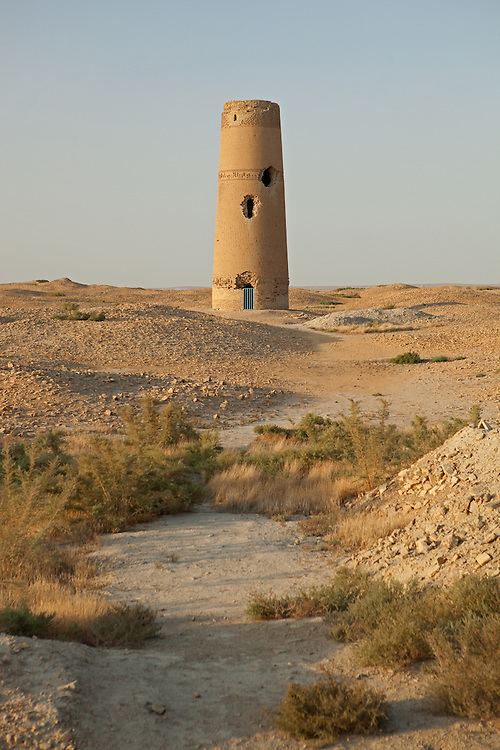 The partially restored Abu-Jafar Akhmed minaret in the ruins of Dekhistan, Turkmenistan