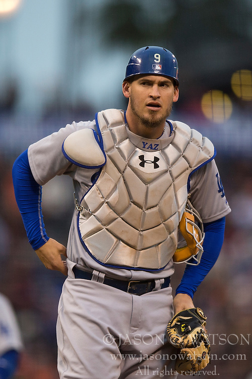 SAN FRANCISCO, CA - MAY 20:  Yasmani Grandal #9 of the Los Angeles Dodgers stands the field during the first inning against the San Francisco Giants at AT&T Park on May 20, 2015 in San Francisco, California.  The San Francisco Giants defeated the Los Angeles Dodgers 4-0. (Photo by Jason O. Watson/Getty Images) *** Local Caption *** Yasmani Grandal