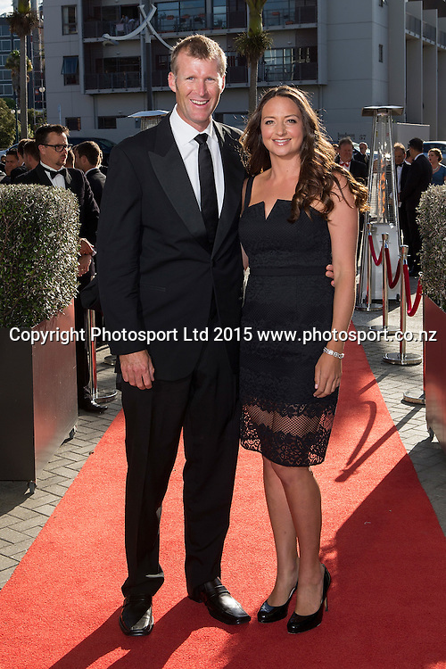 Mahe and Juliette Drysdale pose for a picture on the red carpet at the 52nd Halberg Awards. Halberg Disability Sport Foundation. Vector Arena, Auckland, New Zealand. Wednesday 11 February 2015. Copyright Photo: David Rowland / www.photosport.co.nz
