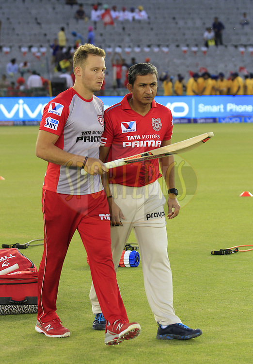 Kings XI Punjab david Milller with coach Sanjay Bangar during match 3 of the Vivo Indian Premier League ( IPL ) 2016 bween the Kings XI Punjab and the Gujarat Lions held at the IS Bindra Stadium, Mohali, India on the 11th April 2016<br /> <br /> Photo by Arjun Singh/ IPL/ SPORTZPICS