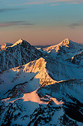 Lone Peak and the Madison Range in alpenglow light.