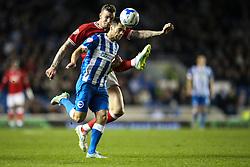 Brighton's Sam Baldock gets past Bristol City's Aden Flint - Mandatory byline: Jason Brown/JMP - 07966 386802 - 20/10/2015 - FOOTBALL - American Express Community Stadium - Brighton,  England - Brighton & Hove Albion v Bristol City - Championship