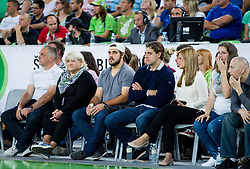 Family Kopitar: father Matjaz, mother Mateja, brother Gasper, Anze Kopitar and his wife Ines during friendly basketball match between National Teams of Slovenia and Brasil at Day 2 of Telemach Tournament on August 22, 2014 in Arena Stozice, Ljubljana, Slovenia. Photo by Vid Ponikvar / Sportida