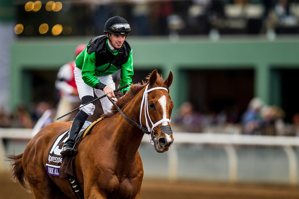 November 01 2014: Work All Week , ridden by Florent Geroux and trained by Roger Brueggermann, wins the Xpressbet Breeders' Cup Sprint (G1) at Santa Anita Park in Arcadia, California on November 1, 2014. Alex Evers/ESW/CSM
