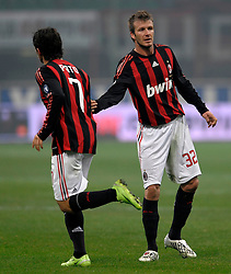 David Beckham and Alexandre Pato  during the Serie A match against Fiorentina on January 17, 2009 at San Siro Stadium in Milan. AC Milan defeated Fiorentina 1-0.
