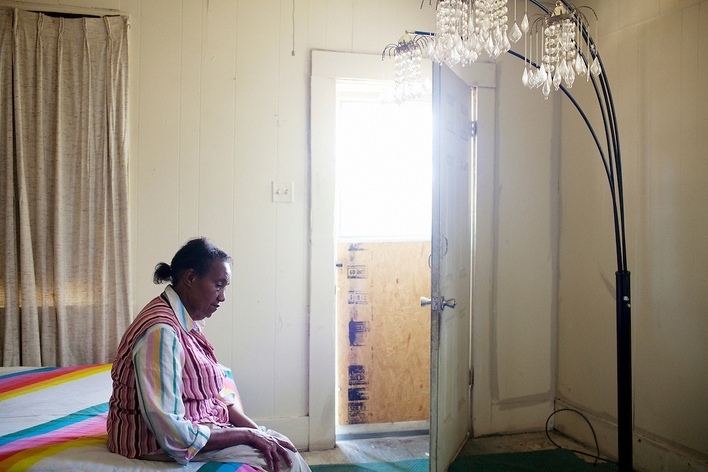 Mattie Mae Brown, 66, in her bedroom in the Baptist Town neighborhood of Greenwood, Mississippi on Wednesday, May 19, 2010. She has lived in Baptist Town for 14 years.