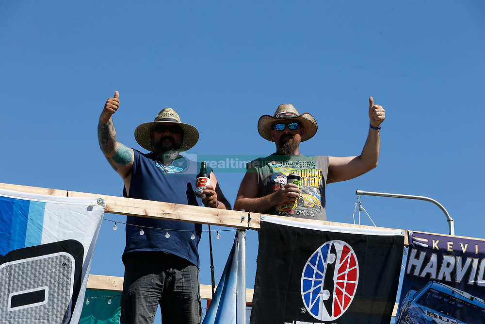 September 14, 2018 - Las Vegas, NV, U.S. - LAS VEGAS, NV - SEPTEMBER 14: Fans watch racing from the roof of RV's in the infield during practice for the South Point 400 Monster Energy NASCAR Cup Series Playoff Race on September 14, 2018 at Las Vegas Motor Speedway in Las Vegas, NV. (Photo by Marc Sanchez/Icon Sportswire) (Credit Image: © Marc Sanchez/Icon SMI via ZUMA Press)