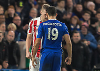 Football - 2016 / 2017 Premier League - Chelsea vs. Stoke City <br /> <br /> Diego Costa of Chelsea confronts Ryan Shawcross of Stoke City at Stamford Bridge.<br /> <br /> COLORSPORT/DANIEL BEARHAM