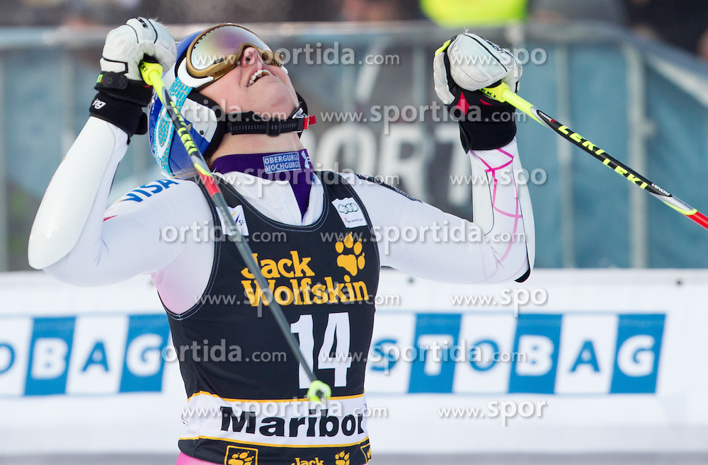 """VONN Lindsey of USA celebrates after she competed during the 2nd Run of FIS Alpine Ski World Cup 7th Ladies' Giant Slalom race named """"49th Golden Fox 2013"""", on January 26, 2013 in Mariborsko Pohorje, Maribor, Slovenia. (Photo By Vid Ponikvar / Sportida.com)"""