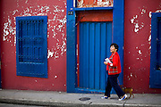 Merida_VEN, Venezuela...Mulher passeando com cachorro em rua de Merida, Venezuela...Woman walking with dog in streets of Merida, Venezuela...Foto: JOAO MARCOS ROSA / NITRO