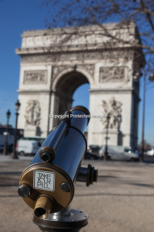 France. Paris. 8th district. The Champs Elysees  and the arc de Triomphe