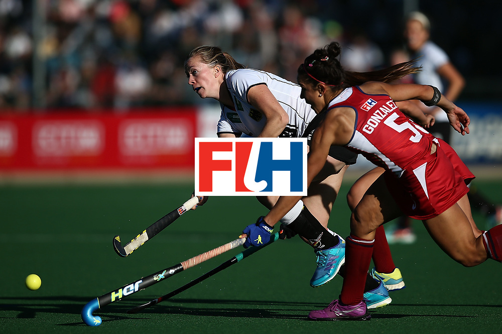 JOHANNESBURG, SOUTH AFRICA - JULY 23:  Franziska Hauke of Germany battles with Melissa Gonzalez of United States of America during day 9 of the FIH Hockey World League Women's Semi Finals final match between X at Wits University on July 23, 2017 in Johannesburg, South Africa.  (Photo by Jan Kruger/Getty Images for FIH)