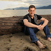 Michael Buble portraits on the Vancouver Seawall and Third Beach for Hello Magazine.