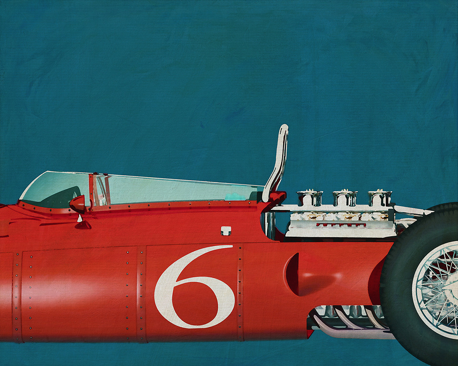 If you want to give your interior an extra stylish detail, this painting of an old racing car, a 1961 Ferrari 156 Shark Nose, is perfect. –<br />