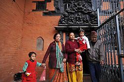 February 5, 2018 - Patan, Nepal - 5yrs old NIHIRA BAJRACHARYA (R) and and her contender SONA BAJRACHARYA (L) for final selection before declared as the new Living Goddess of Patan known as Kumari at Patan, Nepal on Monday, February 5, 2018. 5yrs old NIHIRA BAJRACHARYA selected as the new Living Goddess of Patan among five girls. (Credit Image: © Narayan Maharjan/NurPhoto via ZUMA Press)
