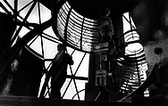 One of the lighthousekeepers on Hyskeir, eight miles from Rum in the Inner Hebrides, checks equipment during the last days before the light was automated by the Northern Lighthouse Board. The lighthouse was one of the last in Scotland to be automated.