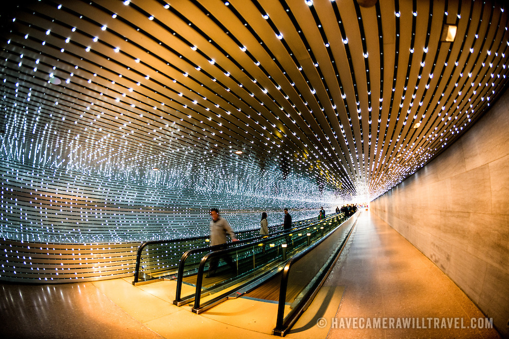An LED light installation by American artist Leo Villareal titled Multiverse (2008) connecting the old and new buildings of the National Gallery of Art in Washington DC.