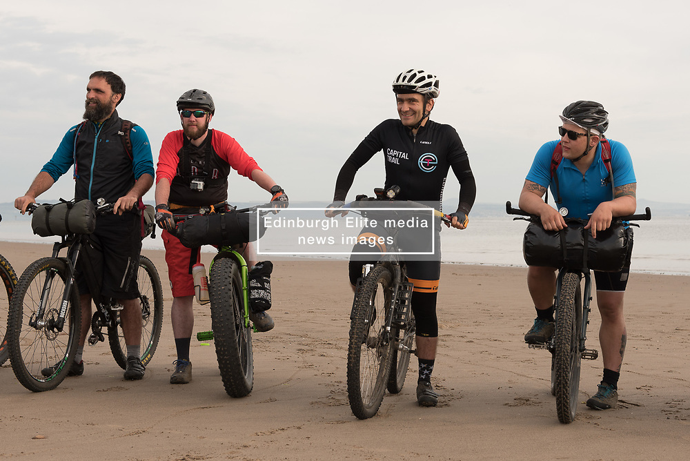 Fifty intrepid mountain bikers set off from Portobello beach this morning on a weekend time-trial tour of the Lothians and Borders. The event - not a race, but more of a personal challenge - will take them just shy of 150 miles over the next two days. Pictured: Event Organiser Markus Stitz<br /> <br /> <br /> © Jon Davey/ EEm