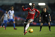 Fulham striker Sone Aluko (24) during the EFL Sky Bet Championship match between Brighton and Hove Albion and Fulham at the American Express Community Stadium, Brighton and Hove, England on 26 November 2016.