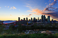 The view of the sunset over downtown Calgary as seen from Scotsman's Hill in teh Ramsay neighborhood.<br /> <br /> &copy;2015, Sean Phillips<br /> http://www.RiverwoodPhotography.com